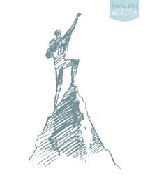 Drawn silhouette man top hill winner sketch vector