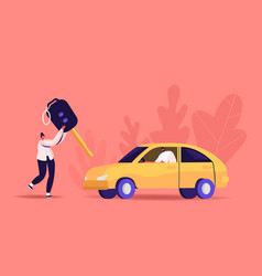Driver license concept tiny woman carry huge key vector