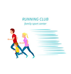 family sport center running club health program vector image