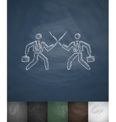 fight icon Hand drawn vector image