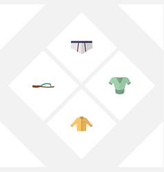 Flat clothes set of beach sandal underclothes vector