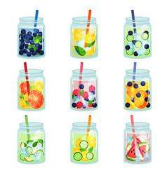 Flat set of delicious detox drinks with vector