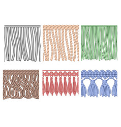 fringe trim textile fringes raw cloth edge and vector image