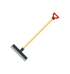 Garden rake icon flat style vector