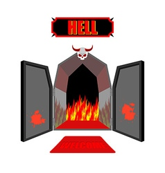 Gate to hell Entrance to hellish Inferno Access to vector