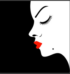 girl with a beauty spot on chin vector image