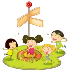Girls playing near sign vector image