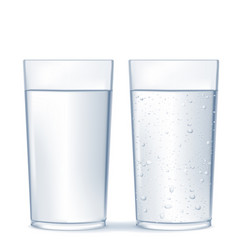 Glass water and sparkling water vector
