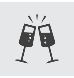 Glasses clink icon vector