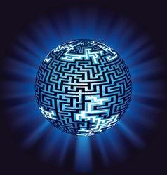globe labyrinth - maze with illumination vector image