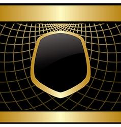 golden frame on black background with grid vector image