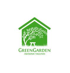 green garden house vector image