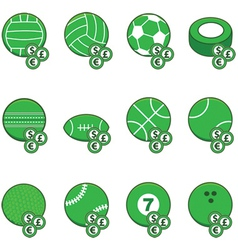 Green sports betting icons vector