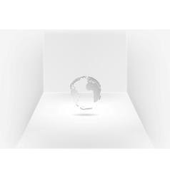 Grey globe in room vector image vector image