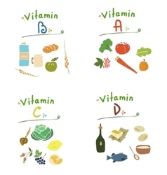 Group vitamins healthy food vector image
