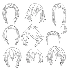 Hair styling for woman drawing Set 3 vector image