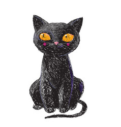 hand drawn cute black witch cat isolated on white vector image