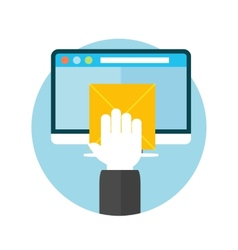 Hand with letter and computer monitor vector