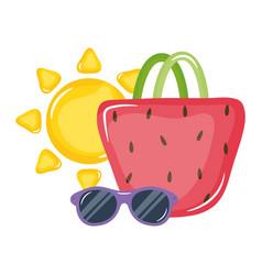 handbag female with sunglasses and summer sun vector image