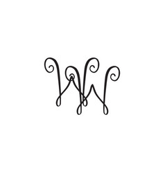 Handwritten monogram ww icon vector