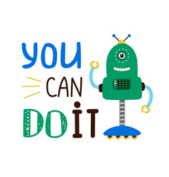 Kids t-shirt design with robot vector