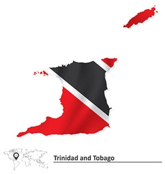 Map of Trinidad and Tobago with flag vector