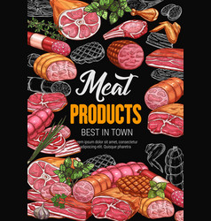 Meat products poster for butchery shop or market vector