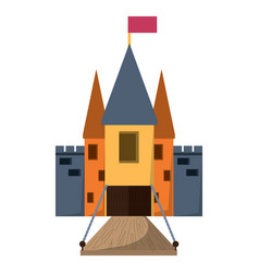 Medieval castle with drawbridge vector