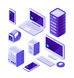 mobile devices isometric set computer server vector image