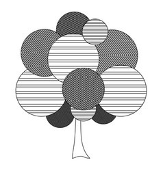monochrome silhouette leafy tree plant with vector image