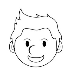 Monochrome silhouette of cartoon face smiling man vector