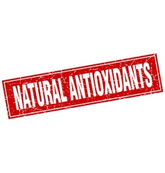 Natural antioxidants red square grunge stamp on vector