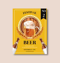 Oktoberfest poster design with beer barley vector