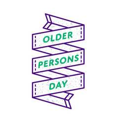 Older persons day isolated greeting emblem vector