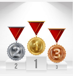 pedestal with gold silver bronze medals vector image