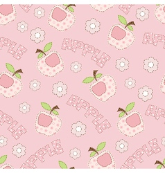 Pink apple seamless pattern vector