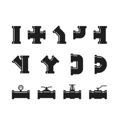 Pipe fittings water tubes icons plumbing vector