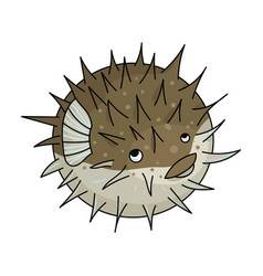 Porcupine fish icon in cartoon style isolated on vector