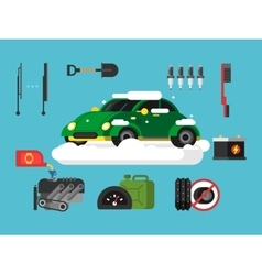 Preparing car to winter vector