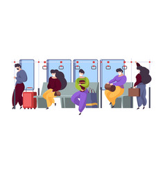 public transport interior people masked distance vector image