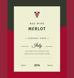 red wine labels premium template set vector image