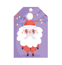 santa claus lights decoration merry christmas tag vector image