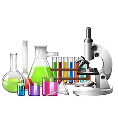 Science equipment with microscope and beakers vector image