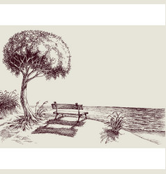 Sea view from a bench in garden hand drawing vector