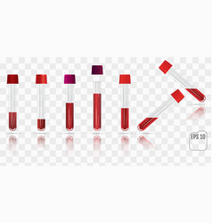 Set of blood collection tube test tubes filled vector