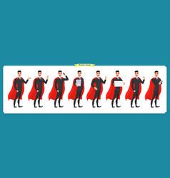 Set of super businessman character man standing vector