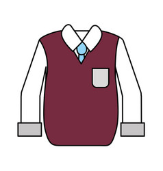 Shirt with tie and vest of wool cloth vector