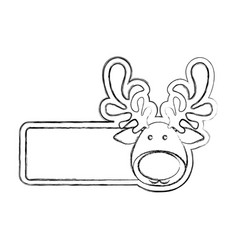 silhouette blurred banner with face reindeer vector image vector image