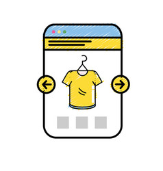 smartphone website shopping the clothes online vector image vector image