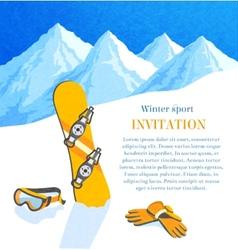 Snowboard winter invitation vector image